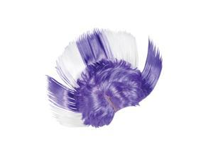 Adult Purple and White School and Team Spirit Mohawk Wig