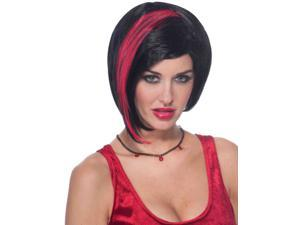 Womens Sexy Gothic Emo Costume Black Wig With Red Streak