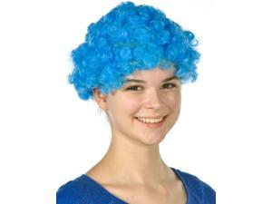 Mens Womens Child Costume Accessory Dress Up Blue Afro Team Spirit Clown Wigs
