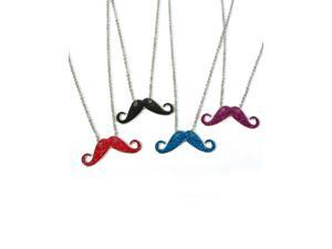 Blue Silver Hipster Trendy Costume Moustache Shiny Sparkle Necklace