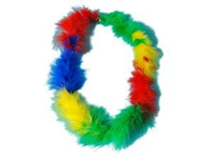 "36"" Hawaiian Rainbow Fluffy Boa Lei Necklace Clown Costume Accessory"
