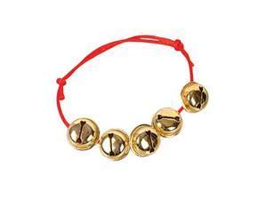 Christmas Santa Claus Red Gold Jingle Bells Bracelet