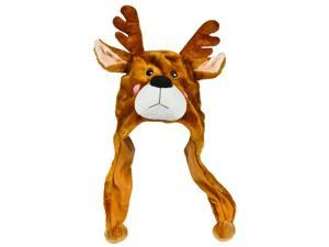 Plush Reindeer Christmas Winter Novelty Cap Hat Beanie Costume Accessory