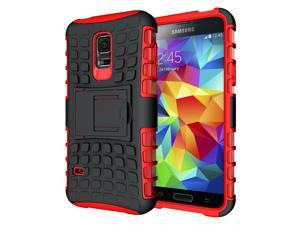 Hyperion Explorer 2-piece Premium Hybrid Protective Case / Cover for Samsung Galaxy S5 MINI (SM-G800) Cell Phone - RED
