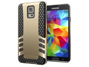 Hyperion Titan 2-piece Premium Hybrid Protective Case for Samsung Galaxy S5 / SV Cell Phone - GOLD