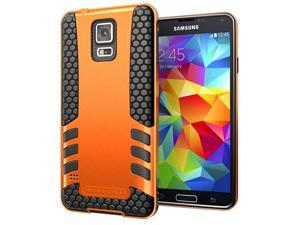 Hyperion Titan 2-piece Premium Hybrid Protective Case for Samsung Galaxy S5 / SV Cell Phone - ORANGE