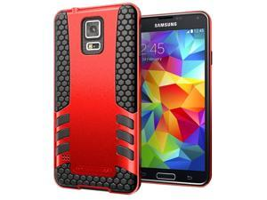 Hyperion Titan 2-piece Premium Hybrid Protective Case for Samsung Galaxy S5 / SV Cell Phone - RED