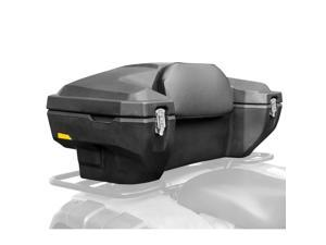 Lockable Hard-Side Rear ATV Storage Box with Padded Backrest