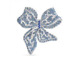 Bling Jewelry Blue Crystal Bow Ribbon Pin Rhodium Plated