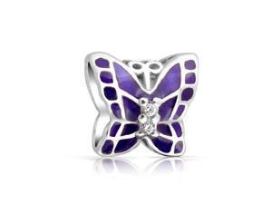 Bling Jewelry Purple Enamel .925 Silver Butterfly CZ Charm Bead Fits Pandora