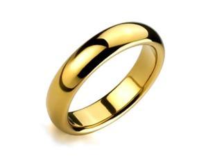 Bling Jewelry Gold Plated Comfort Fit High Polish Tungsten Band Ring 6mm