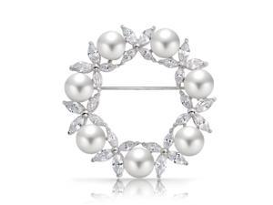 Bling Jewelry White Simulated Pearl Marquise CZ  Wreath Pin Rhodium Plated