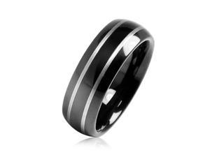 Bling Jewelry Black Tungsten Mirror Finish Wedding Band Ring 8mm