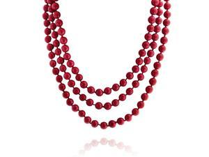 Bling Jewelry Red Simulated Coral Simulated Pearl Strand Necklace 64in