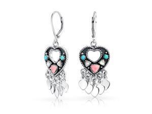 Bling Jewelry 925 Silver Mother of Pearl Gemstone Heart Leverback Earrings