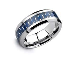 Bling Jewelry Tungsten Carbon Fiber Cobalt Blue Inlay Ring 8mm