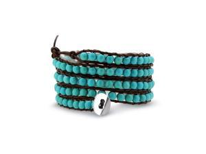 Bling Jewelry Stackable Blue Simulated Turquoise Beads Brown Leather Wrap Bracelet