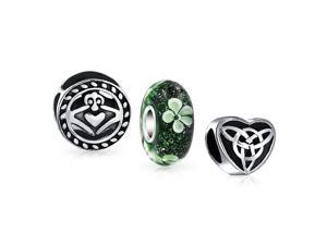 Bling Jewelry .925 Sterling Silver Celtic Claddagh Heart Clover Bead Set Fits Pandora