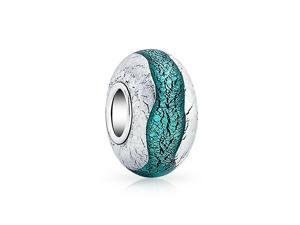 Bling Jewelry 925 Silver Teal 925 Silver Foil Murano Glass Bead Charm Pandora Compatible