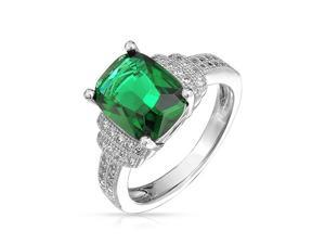 Bling Jewelry Cushion Cut Simulated Emerald CZ Engagement Ring 925 Silver