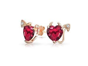 Bling Jewelry Rose Gold Plated CZ Simulated Ruby Devil Heart Studs Silver