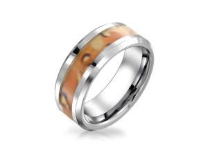 Bling Jewelry Unisex Tungsten Ring Camouflage Inlay Mens Band 8mm