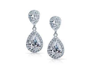 Bling Jewelry Pave CZ Teardrop Dangle Earrings Rhodium Plated