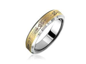 Bling Jewelry Gold Plated Celtic Dragon Tungsten Ring Comfort Fit 5mm