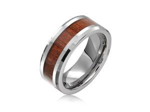 Bling Jewelry Simulated Wood Inset Beveled Edge Tungsten Wedding Band 8mm