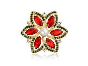 Bling Jewelry Gold Plated Poinsettia Crystal Simulated Pearl Christmas Pin