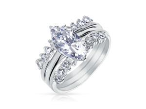 Bling Jewelry 925 Silver CZ Marquise Engagement Ring Set Rhodium Plated