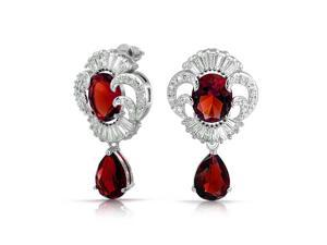 Bling Jewelry Vintage Style Simulated Ruby CZ Drop Earrings Rhodium Plated