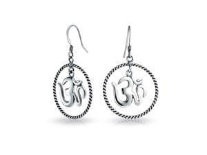 Bling Jewelry Antique Style Sterling Silver Aum Symbol Om Dangle Earrings