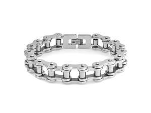 Bling Jewelry Mens Stainless Steel 11mm Bicycle Bike Chain Bracelet 8.5in