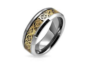 Bling Jewelry Tungsten Celtic Dragon Gold Plated Black Inlay Wedding Ring