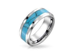 Bling Jewelry Mens Tungsten Blue Inlay Wedding Band Ring