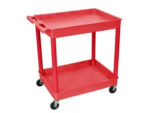 Luxor Red Polyehylene Wheeled Utility Cart with Two Shelf Tubs