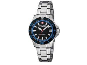 Wenger Women's 'Sea Force' Black Dial Steel Diver Watch