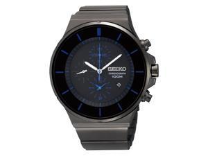 Seiko Men's Chronograph Black Ion Blue Accent Watch