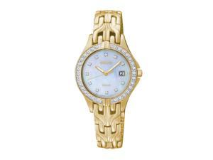 SEIKO Women's Solar Mother-Of-Pearl Dial Gold Diamond Watch