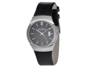 Skagen Men's 981XLSLB Black Leather Swiss Quartz Watch