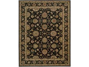 Living Treasures Black Wool Rug (7'6 x 9'6)
