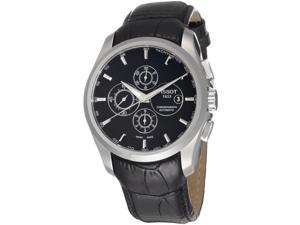 Tissot Men's Black Alligator Leather Black Dial Swiss Automatic Watch