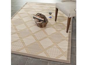 """Beige/ Dark-Beige Element-Resistant Indoor/ Outdoor Powerloomed Area Rug (4' x 5'7"""")"""