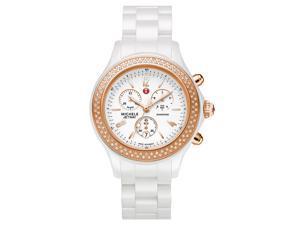 Michele Women's 'Jetway' White Ceramic Diamond Rose Gold Watch