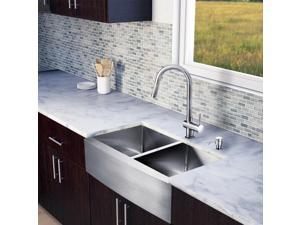 Vigo All-in-one 33-inch Farmhouse Stainless Steel Double Bowl Kitchen Sink and Faucet Set