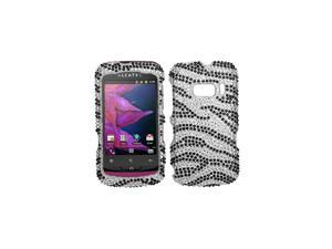 INSTEN Black Zebra Skin Diamante Phone Case Cover for ALCATEL 918 One Touch