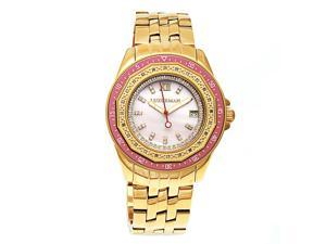 Luxurman Women's Yellow Gold-Plated Stainless Steel Mother of Pearl Dial Watch