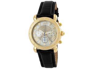 JBW Women's Stainless Steel Black Leather Diamond Watch