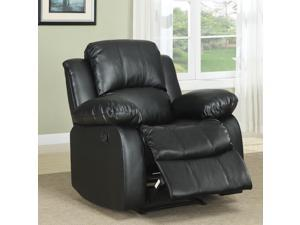 TRIBECCA HOME Coleford Black Faux Leather Tufted Transitional Reclining Chair